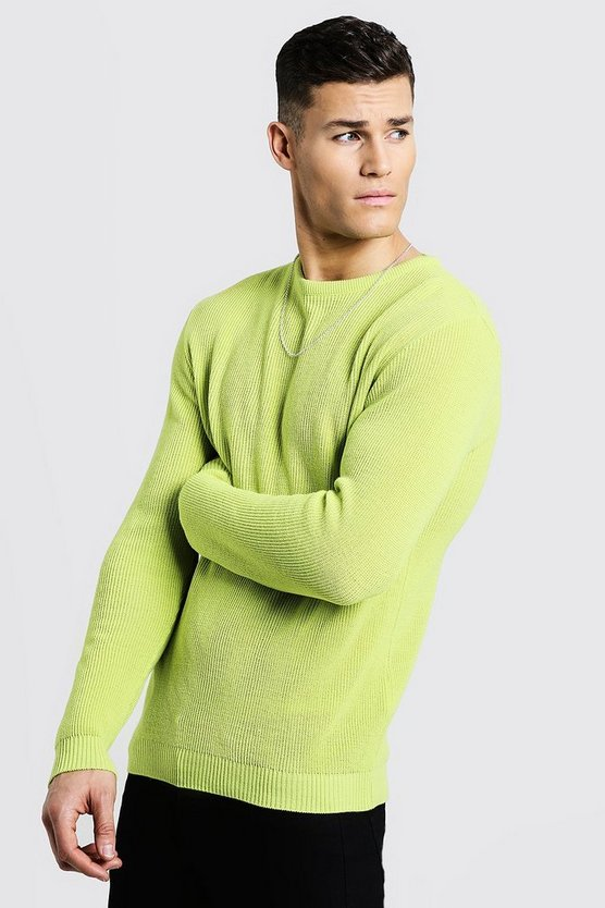 Mens Lime Crew Neck Fisherman Knit Sweater