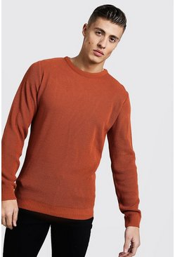 Mens Rust Crew Neck Fisherman Knit Jumper