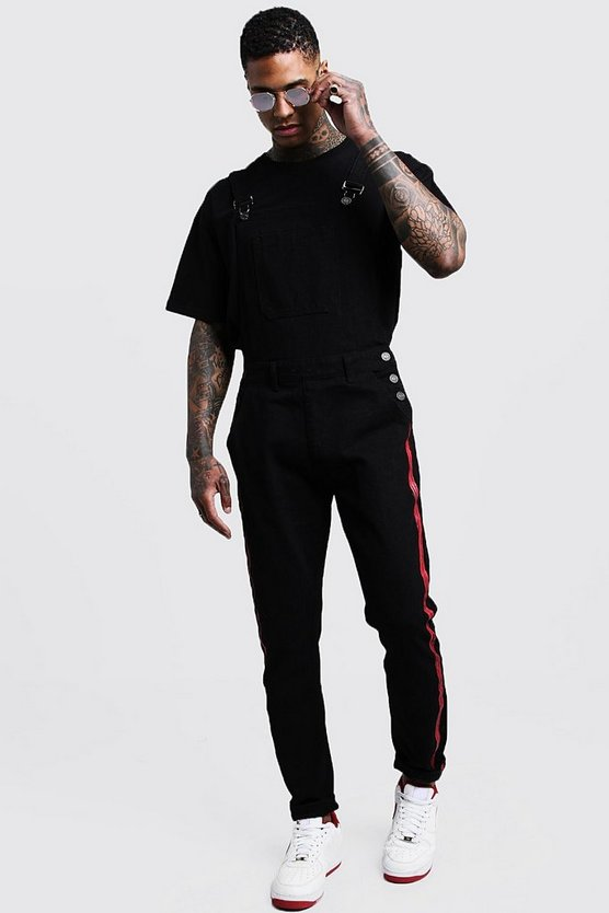 Mens Black Skinny Fit Dungarees With Printed Side Panel