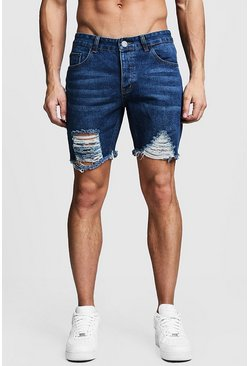 Mens Dark blue Slim Fit Distressed Denim Shorts With Raw Hem