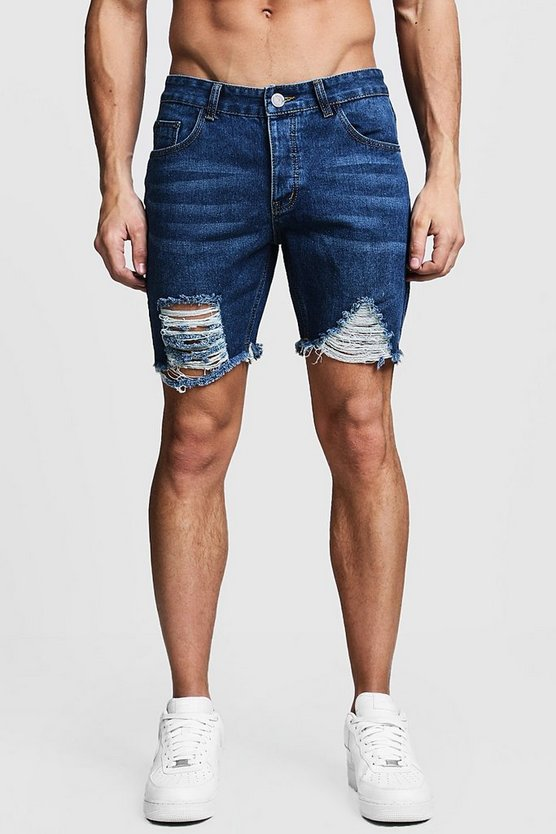 Slim Fit Distressed Denim Shorts With Raw Hem