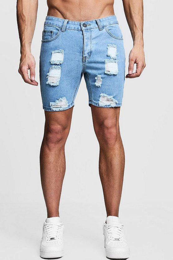 Mens Vintage wash Slim Fit Distressed Denim Shorts