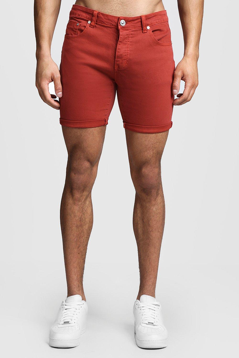 Skinny Fit Terracotta Denim Shorts