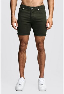 Mens Skinny Fit Khaki Denim Shorts