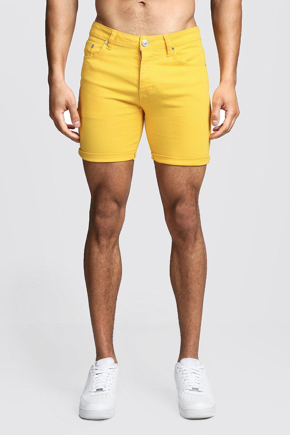 Skinny Fit Yellow Denim Shorts
