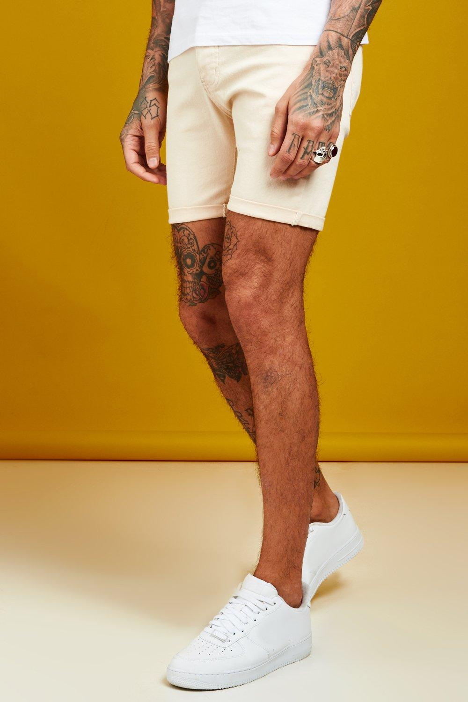 Skinny Fit Ecru Denim Shorts