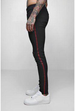 Mens Black Super Skinny Distressed Jeans With Side Tape