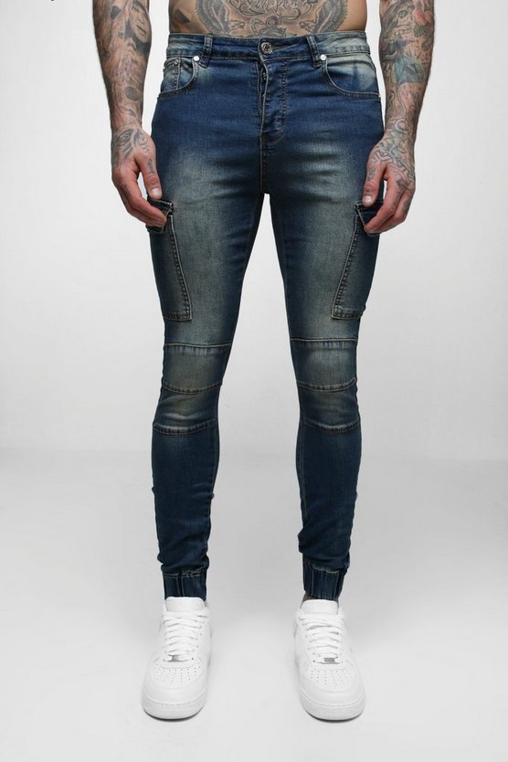 Super Skinny Cuffed Jeans With Pockets