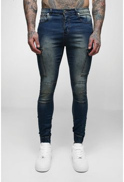Mens Antique wash Super Skinny Cuffed Jeans With Pockets