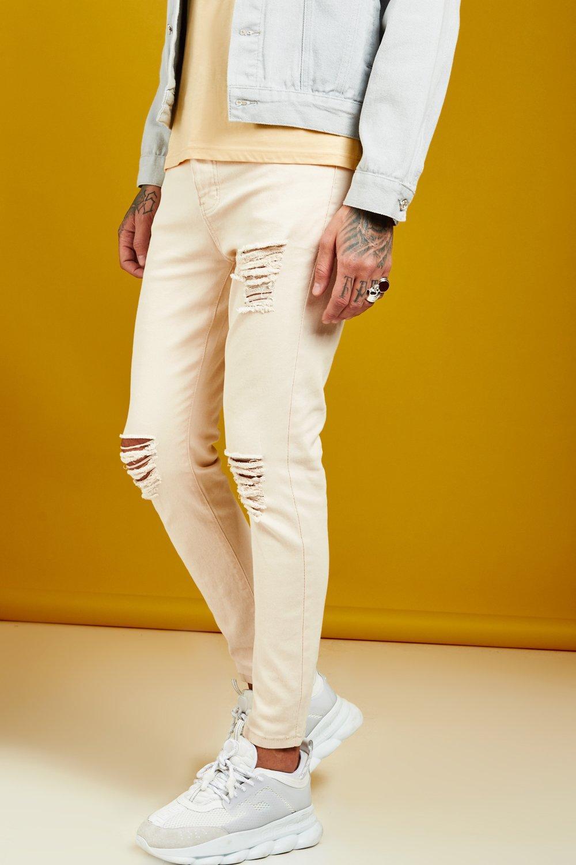 Skinny Fit Ecru Denim Distressed Jeans