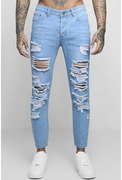 Blue Skinny Fit Jeans With Extreme Distressing