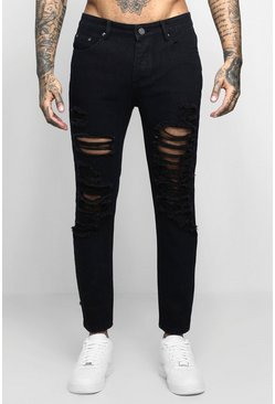 Skinny-Fit Jeans mit extremem Destroyed-Look, Schwarz, Herren