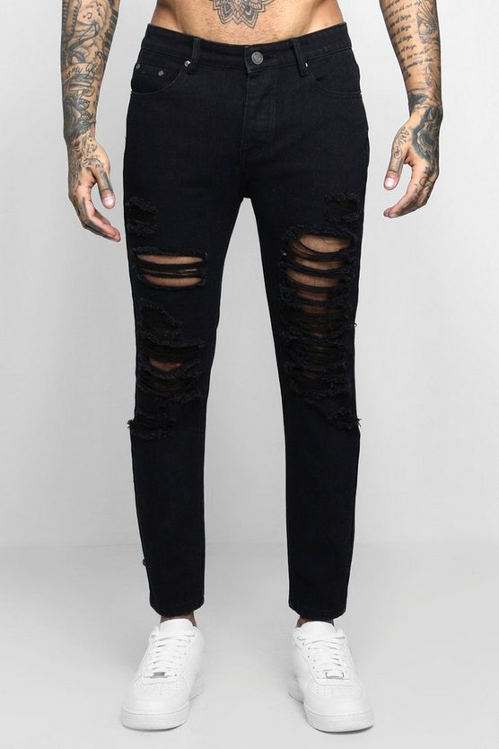Skinny Fit Jeans With Extreme Distressing