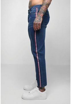 Mens Dark blue Skinny Fit Cropped Jeans With Side Tape