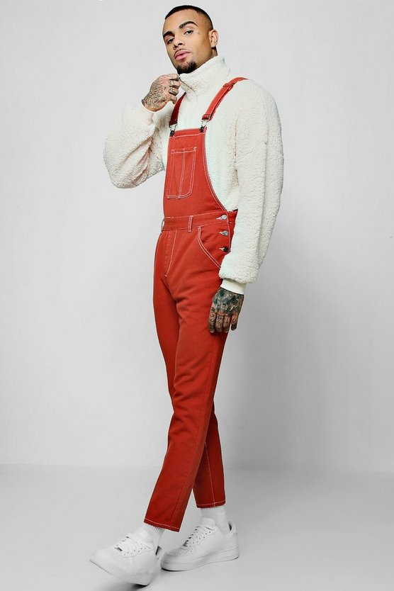 Terracotta Skinny Fit Denim Overall With Contrast Stitch
