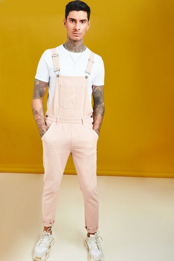 Mens Dusky pink Skinny Fit Denim Dungaree With Contrast Stitch