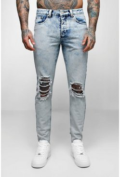 Mens Pale blue Skinny Fit Acid Wash Jeans With Ripped Knee