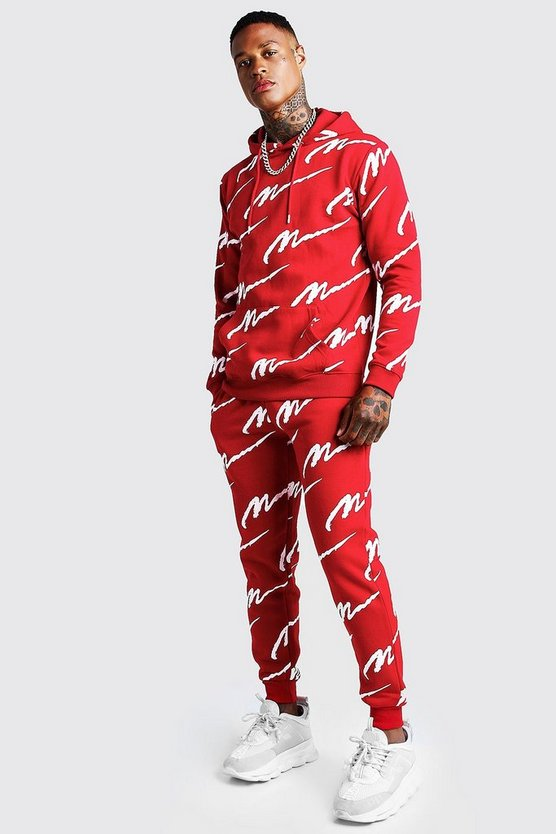 Mens Red All Over MAN Print Hooded Tracksuit