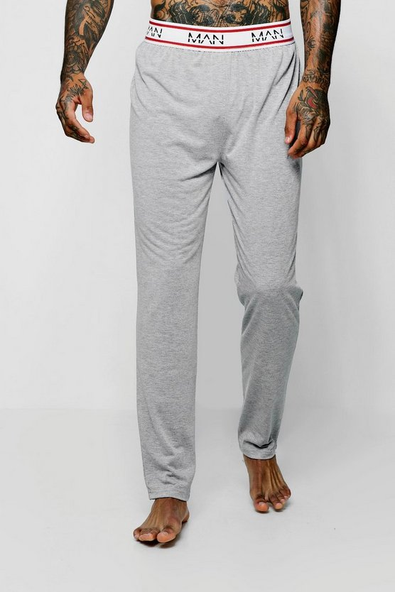Mens Grey MAN Border Waistband Jersey Lounge Pant