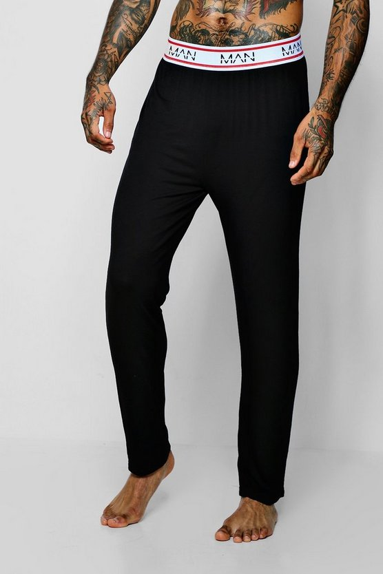 Mens Black MAN Border Waistband Jersey Lounge Pant