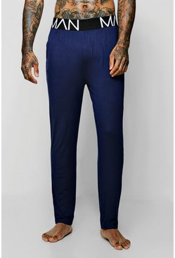 Mens Navy Wide MAN Waistband Jersey Lounge Pant
