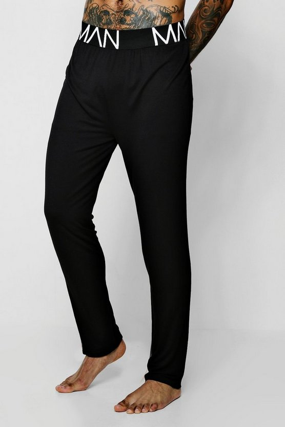 Mens Black Wide MAN Waistband Jersey Lounge Pant