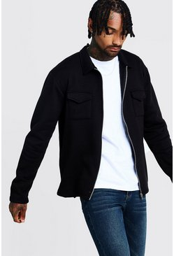 Mens Black Jersey Utility Overshirt