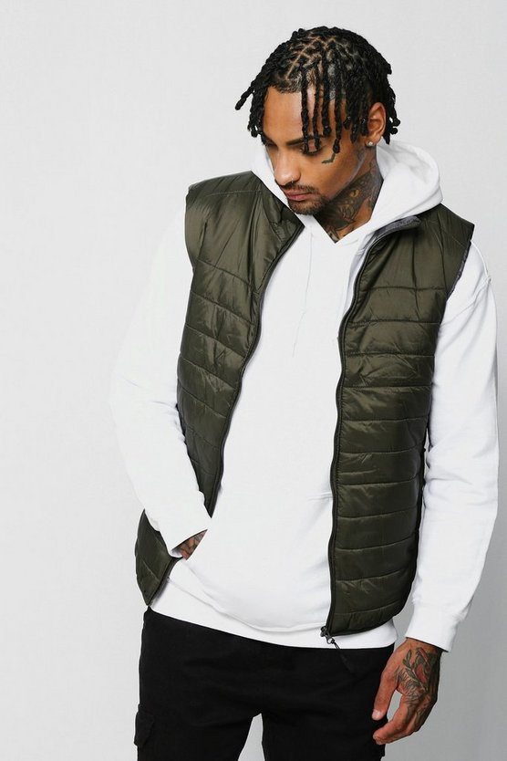 Olive Funnel Neck Quilted Gilet