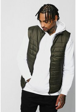 Mens Olive Funnel Neck Quilted Gilet