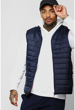 Mens Navy Funnel Neck Quilted Gilet