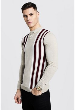 Mens Taupe Long Sleeve Contrast Stripe Polo