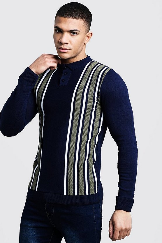 Mens Navy Long Sleeve Contrast Stripe Polo