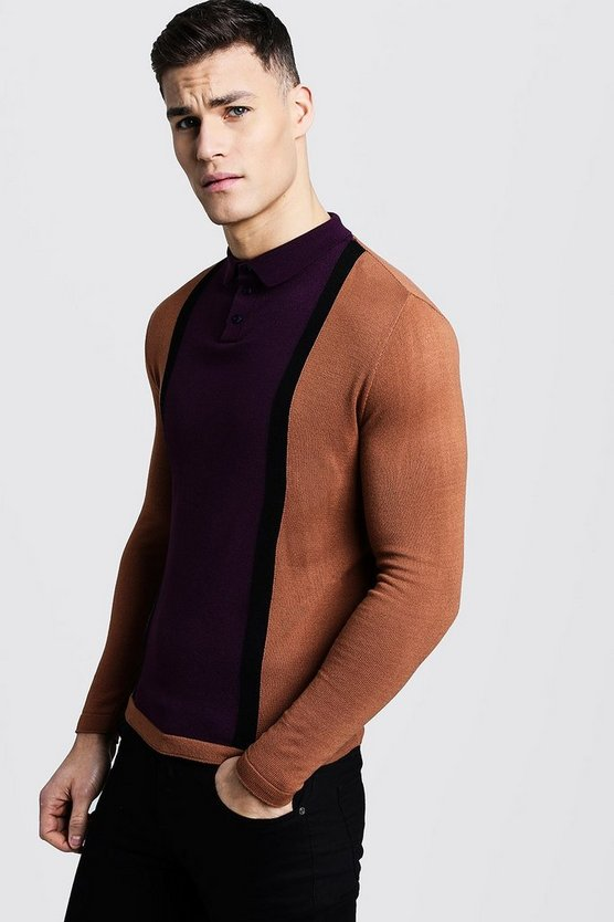 Mens Purple Long Sleeve Colour Block Knitted Polo