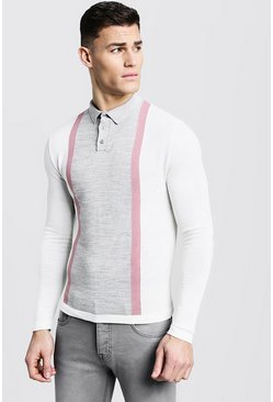 Mens Dusky pink Long Sleeve Colour Block Knitted Polo