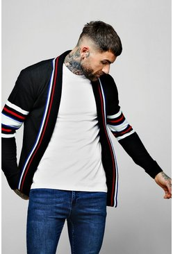 Mens Black Knitted Cardigan With Stripe Detail