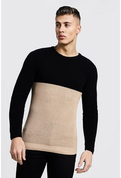 Mens Camel Colour Block Fisherman Knit Jumper