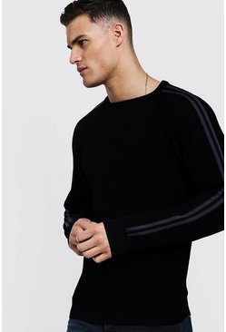 Mens Black Side Stripe Smart Jumper
