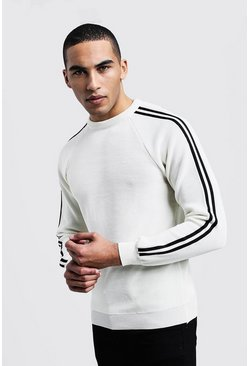 Mens White Side Stripe Smart Jumper