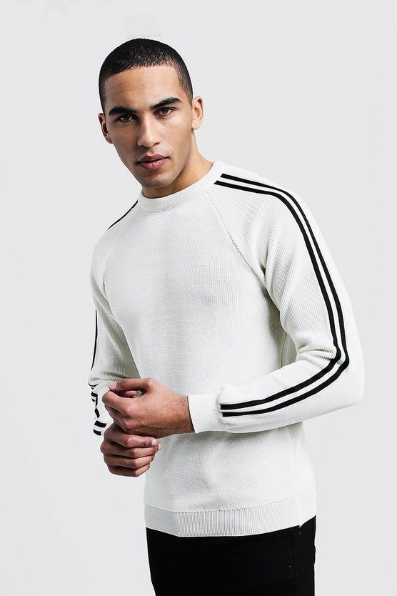 Mens White Side Stripe Smart Sweater