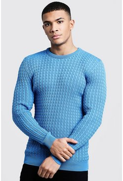 Mens Cornflower Mini Cable Knitted Jumper