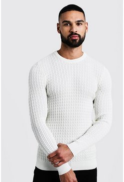 Mens Ecru Mini Cable Knitted Jumper