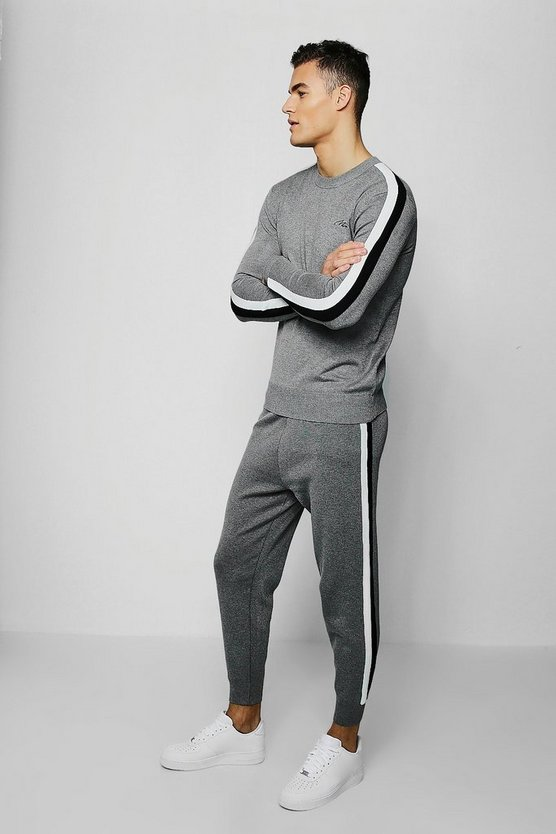 Mens Grey MAN Signature Knitted Tracksuit