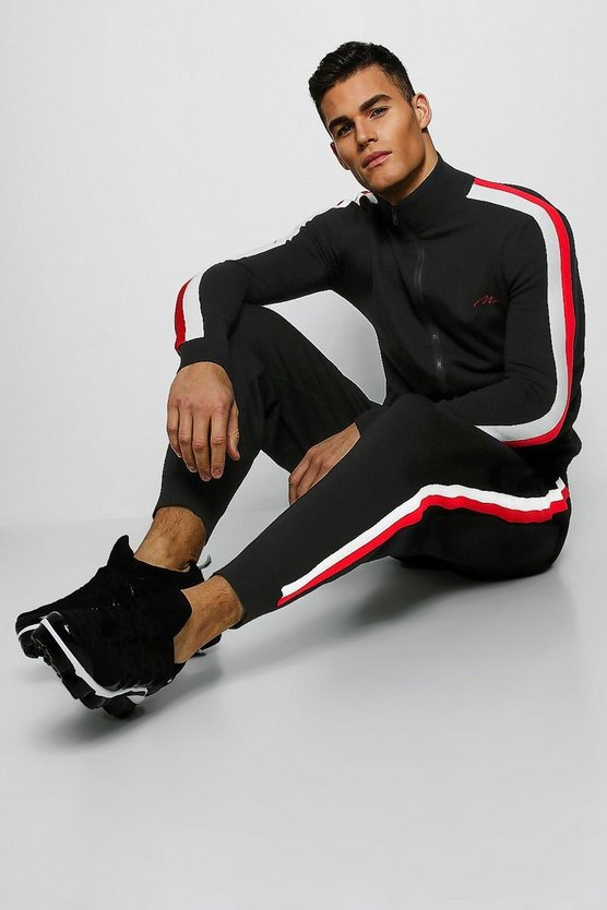 Mens Black MAN Signature Zip Through Knitted Tracksuit