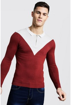Long Sleeved Colour Block Zip Polo, Rust, МУЖСКОЕ