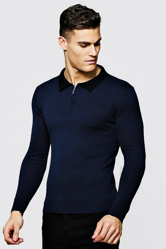 Mens Navy Long Sleeved Zip Polo With Ribbed Collar