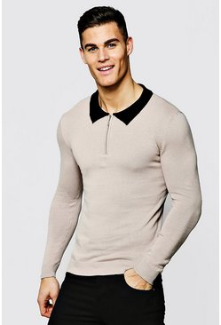 Long Sleeved Zip Polo With Ribbed Collar, Taupe, МУЖСКОЕ