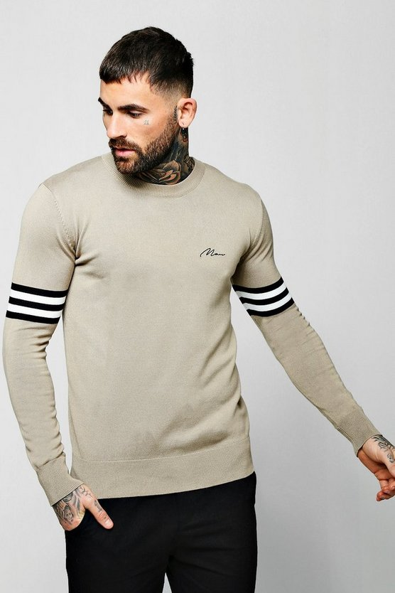 Mens Taupe Man Signature Arm Stripe Sweater