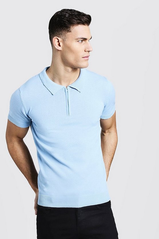 Mens Powder blue Short Sleeve Zip Polo With Ribbed Collar