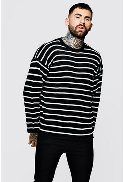 Drop Shoulder Striped Knit Jumper, Black, МУЖСКОЕ