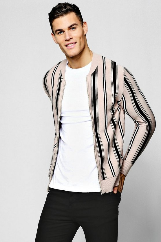 Stone Striped Knitted Bomber Jacket